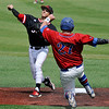 NOC Enid's T.J. Black throws over Tim Johnson to complete one of four double plays against Carl Albert CC Saturday May 14, 2016 during the Region 2 District tournament at David Allen Ballpark. (Billy Hefton / Enid News & Eagle)