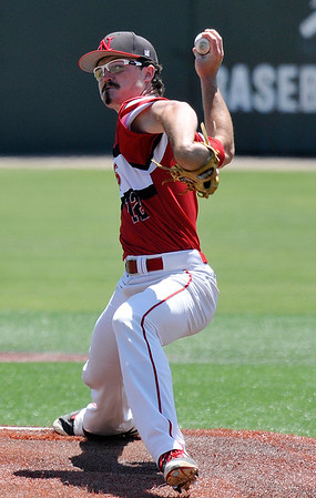 NOC Enid's Tyler Culver delivers a pitch against Redlands CC in a complete game win Friday May 13, 2016 during the Region 2 District tournament at David Allen Ballpark. (Billy Hefton / Enid News & Eagle)