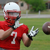 Chisholm's Mason McKee catches a pass during spring practice Tuesday May 17, 2016. (Billy Hefton / Enid News & Eagle)