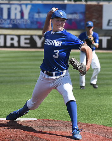 Lansing CC's Cam Fewless delivers a pitch against Phoenix CC in an elimination game during the 2017 NJCAA DII World Series at David Allen Memorial Ballpark Tuesday May 30, 2017. (Billy Hefton / Enid News & Eagle)