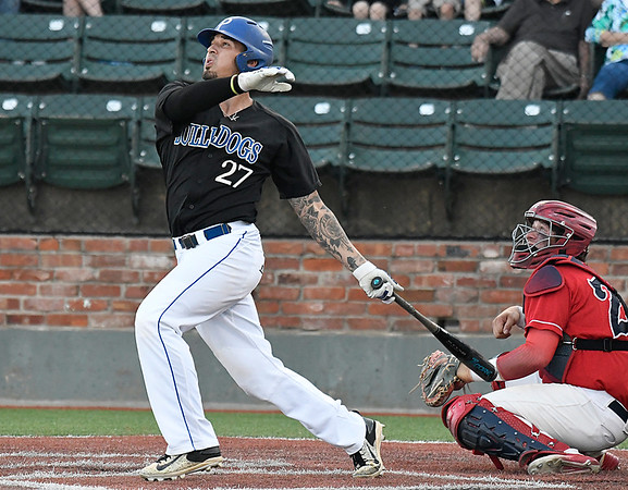 Pitt CC's Dominick Cammarata hits a home run against Kankakee in an elimination game during the 2017 NJCAA DII World Series at David Allen Memorial Ballpark Tuesday May 30, 2017. (Billy Hefton / Enid News & Eagle)