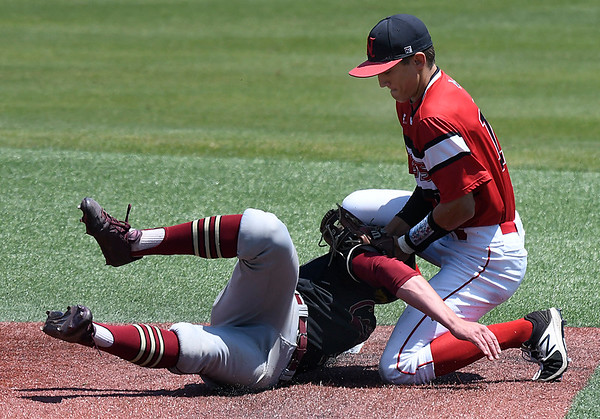 NOC Enid's T.J. Black tags out Redlands CC's Luke Ball at second base Thursday May 4, 2017 at David Allen Memorial Ballpark. (Billy Hefton / Enid News & Eagle)