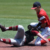 NOC Enid's T.J. Black tags out Redlands CC's Luke Ball at second base Thursday May 4, 2017 at David Allen Memorial Ballpark. (Billy Hefton / Enid News & Eagle)
