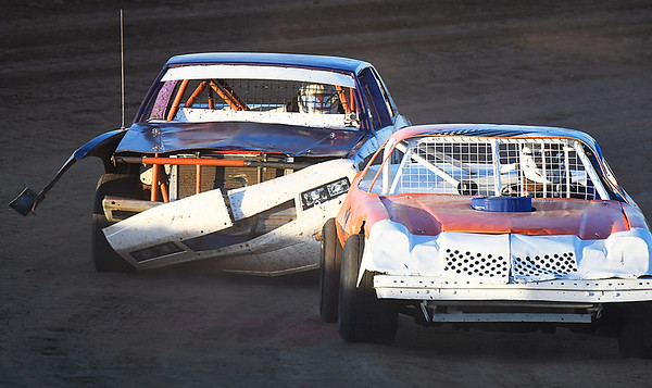 A car keeps racing with equipment malfunctions during the opening night of the Enid Speedway May 6, 2017. (Billy Hefton / Enid News & Eagle)