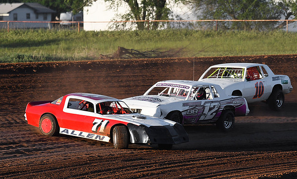 A car gets sideways in a heat race during the opening night of the Enid Speedway May 6, 2017. (Billy Hefton / Enid News & Eagle)