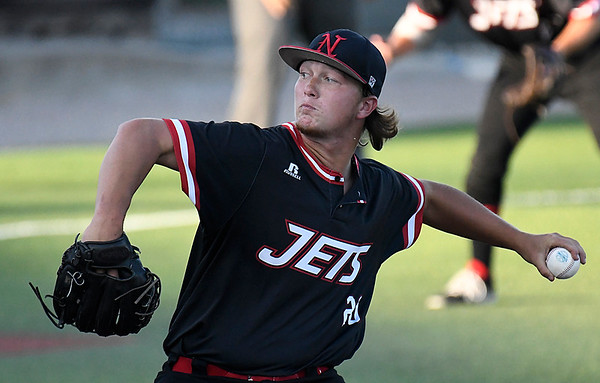 NOC Enid's Tyler Tuck delivers a pitch against Redlands CC during the Region 2 tournament Saturday May 13, 2017 at David Allen Memorial Ballpark. (Billy Hefton / Enid News & Eagle)