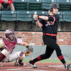 NOC Enid's Griffin Keller hits a 2 RBI single against Redlands CC during the Region 2 tournament Saturday May 13, 2017 at David Allen Memorial Ballpark. (Billy Hefton / Enid News & Eagle)
