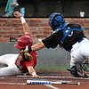 Pitt CC's Daniel Millwee tags out Kankakee's Colin BeDell at home plate during an elimination game in the 2017 NJCAA DII World Series at David Allen Memorial Ballpark Tuesday May 30, 2017. (Billy Hefton / Enid News & Eagle)