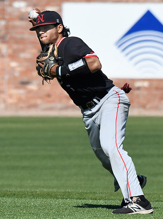 NOC Enid's Carlos Andujar makes a throw to first against Murray State during the Region 2 tournament Friday May 12, 2017 at David Allen Memorial Ballpark. (Billy Hefton / Enid News & Eagle)