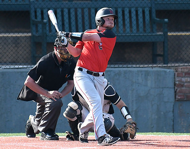 NOC Enid's Wesley O'Neill hits a double against Redlands CC during the Region 2 tournament at David Allen Memorial Ballpark Friday May 11, 2018. (Billy Hefton / Enid News & Eagle)