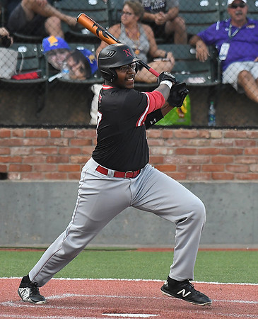 NOC Enid's E.J. Taylor connects on a base hit against LSU Eunice Wednesday May 30, 2018 during the NJCAA DII World Series at David Allen Memorial Ballpark. (Billy Hefton / Enid News & Eagle)