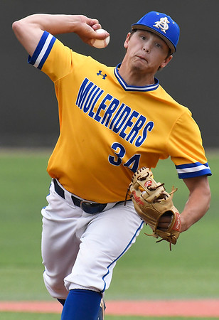 Southern Arkansas' Dillon Lawrence delivers a pitch against Oklahoma Baptist University Tuesday May 8, 2018 during the Great American Conference tournament at David Allen Memorial Ballpark. (Billy Hefton / Enid News & Eagle)