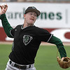 Oklahoma Baptist University's Albertus Barber delivers a pitch against Southern Arkansas Tuesday May 8, 2018 during the Great American Conference tournament at David Allen Memorial Ballpark. (Billy Hefton / Enid News & Eagle)