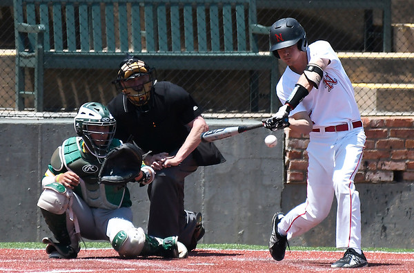 NOC Enid's D.J. Calvert hits a single against Western CC during the opening game of the Region 2 tournament at David Allen Memorial Ballpark Thursday May 10, 2018. (Billy Hefton / Enid News & Eagle)