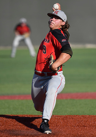 NOC Enid starting pitcher, Rowdy Reihs, delivers a pitch against LSU Eunice Monday May 28, 2018 during the NJCAA DII World Series at David Allen Memorial Ballpark. (Billy Hefton / Enid News & Eagle)