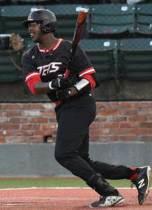 NOC Enid's E.J. Taylor gets a base hit against Murray State during the Region 2 tournament Saturday May 12, 2018 at David Allen Memorial Ballpark. (Billy Hefton / Enid News & Eagle)