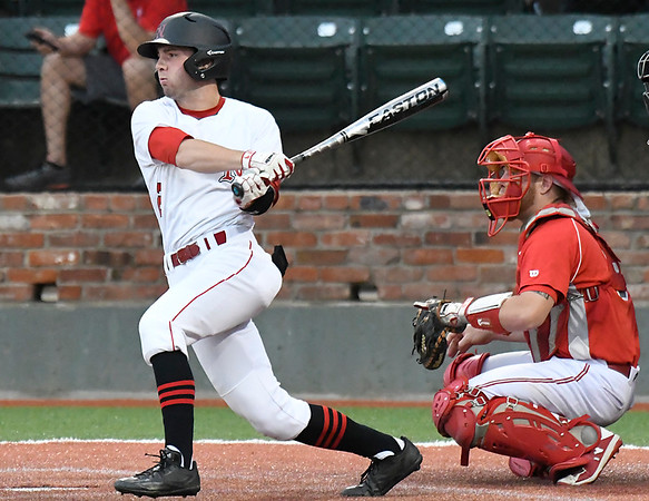 NOC Enid's Clayton Peterson bats against Sinclair CC during the NJCAA DII World Series at David Allen Memorial Ballpark Tuesday May 29, 2018. (Billy Hefton / Enid News & Eagle)