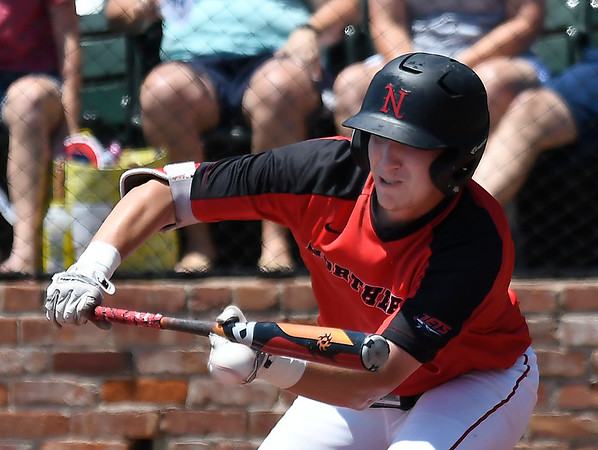 NOC Enid's Tyler Wood lays down a bunt against Sinclair CC in an elimination game during the NJCAA DII World Series Wednesday May 30, 2018 at David Allen Memorial Ballpark. (Billy Hefton / Enid News & Eagle)