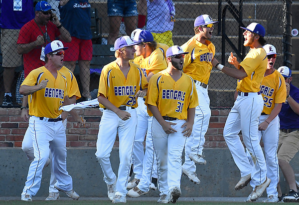 LSU Eunice celebrate a grand slam home run by Hayden Mixon against NOC Enid Monday May 28, 2018 during the NJCAA DII World Series at David Allen Memorial Ballpark. (Billy Hefton / Enid News & Eagle)