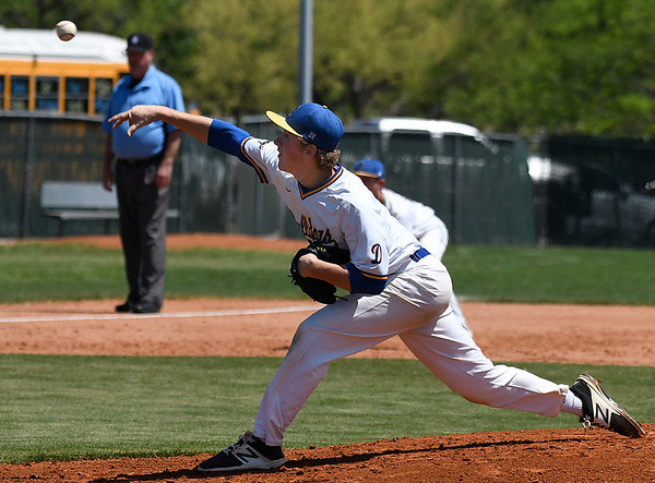 Drummond's Brandon Coontz delivers a pitch against Leedy during the Bulldog's 2-1 loss in the class B state championship game Saturday May 5, 2018 in Oklahoma City. (Billy Hefton / Enid News & Eagle)