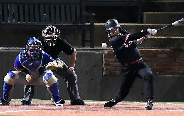 NOC Enid's Garrett Misenheimer gets a base hit against Murray State during the Region 2 tournament Saturday May 12, 2018 at David Allen Memorial Ballpark. (Billy Hefton / Enid News & Eagle)