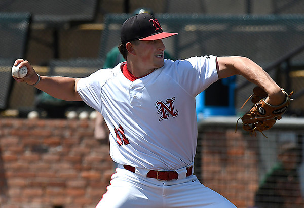 NOC Enid's Braxton Douthit delivers a pitch during a complete game 4-2 win over Western CC in the opening game of the Region 2 tournament at David Allen Memorial Ballpark Thursday May 10, 2018. (Billy Hefton / Enid News & Eagle)