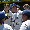 Drummond head coach, Jared Swart, talks to his team after the Bulldog's 2-1 loss to Leedy in the class B state championship game Saturday May 5, 2018 in Oklahoma City. (Billy Hefton / Enid News & Eagle)