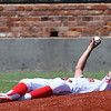 Sinclair CC pitcher, Juan Broom, holds up the ball after catching a line drive back to the pitching mound in an elimination game against NOC Enid during the NJCAA DII World Series Wednesday May 30, 2018 at David Allen Memorial Ballpark. (Billy Hefton / Enid News & Eagle)
