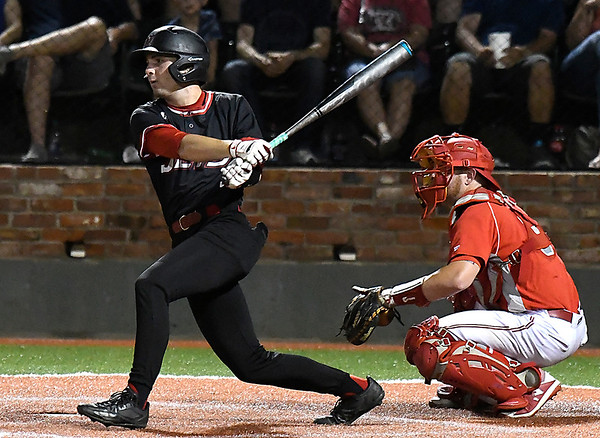 NOC Enid's Clayton Peterson hits a RBI single against Sinclair CC during the NJCAA DII World Series Saturday May 26, 2018 at David Allen Memorial Ballpark. (Billy Hefton / Enid News & Eagle)