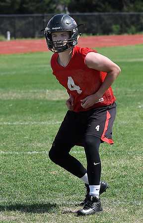 OBA's Traber Smithson drops into coverage during spring practice at Oklahoma Bible Academy Tuesday May 15, 2018. (Billy Hefton / Enid News & Eagle)