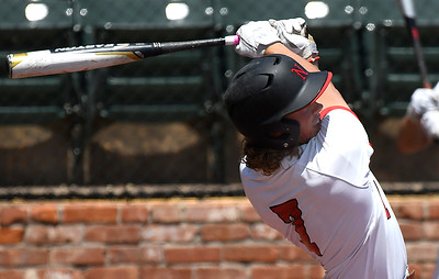 NOC Enid's Dylan Caplinger connects on a two run home run against Western CC in the opening game of the Region 2 tournament at David Allen Memorial Ballpark Thursday May 10, 2018. (Billy Hefton / Enid News & Eagle)