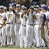 LSU Eunice players point to where Koi Westbrook'shome run against Parkland CC landed during the NJCAA DII World Series Thursday May 31, 2018 at David Allen Memorial Ballpark. (Billy Hefton / Enid News & Eagle)