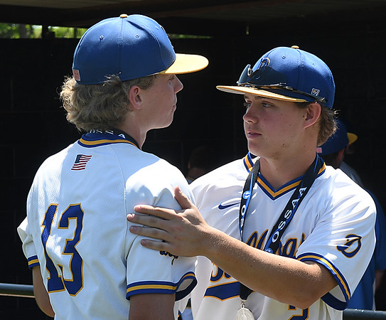 Drummond's Seth Gray and Ty Schlecht after the Bulldog's 2-1 loss to Leedy in the class B state championship game Saturday May 5, 2018 in Oklahoma City. (Billy Hefton / Enid News & Eagle)