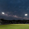 A streak of lightning lights up the clouds over David Allen Memorial Ballpark Tuesday May 29, 2018. (Billy Hefton / Enid News & Eagle)