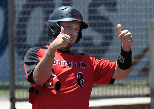NOC Enid's Wesley O;Neill gives a thumbs up to the dugout after a base hit in the Jets' 10-6 over Sinclair CC in an elimination game during the NJCAA DII World Series Wednesday May 30, 2018 at David Allen Memorial Ballpark. (Billy Hefton / Enid News & Eagle)