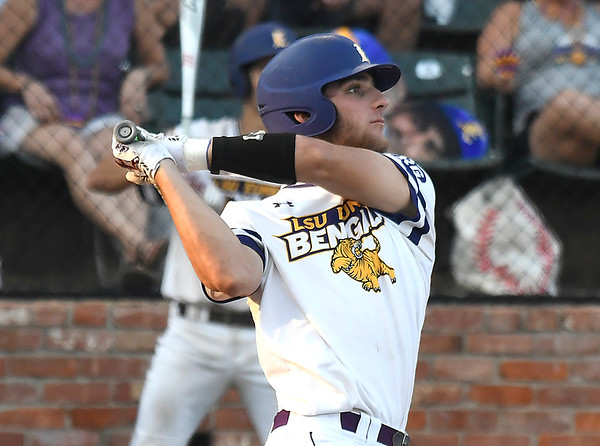 LSU Eunice's Koi Westbrook connects on a grand slam home run against NOC Enid Wednesday May 30, 2018 during the NJCAA DII World Series at David Allen Memorial Ballpark. (Billy Hefton / Enid News & Eagle)