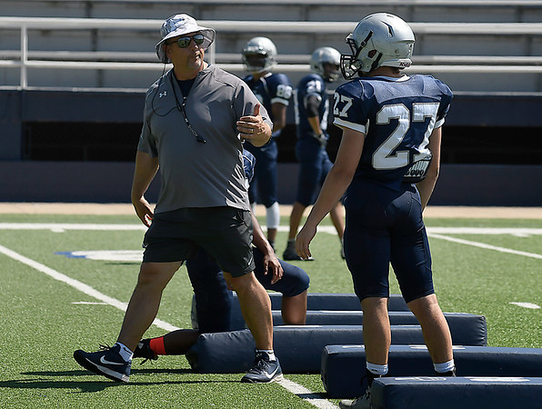 Enid head coach, Steve Hayes, during spring practice Monday May 21, 2018 at D. Bruce Selby Stadium. (Billy Hefton / Enid News & Eagle)