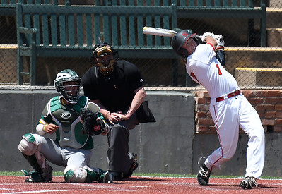 NOC Enid's Dylan Caplinger connects on a single against Western CC in the opening game of the Region 2 tournament at David Allen Memorial Ballpark Thursday May 10, 2018. (Billy Hefton / Enid News & Eagle)