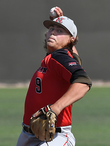 NOC Enid's Rowdy Reihs delivers a pitch against Redlands CC during the Region 2 tournament at David Allen Memorial Ballpark Friday May 11, 2018. (Billy Hefton / Enid News & Eagle)