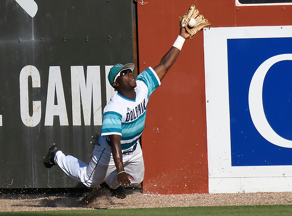 Brunswick's Chris Graham makes a catch as he is falling on the warning track in center field against Monroe CC during the NJCAA DII World Series Saturday May 26, 2018 at David Allen Memorial Ballpark. (Billy Hefton / Enid News & Eagle)