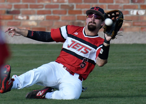 NOC Enid's Seth Graves makes a sliding catch against Pasco-Hernando State during the NJCAA DII World Series Wednesday, May 29, 2019, at David Allen Memorial Ballpark. (Billy Hefton / Enid News & Eagle)