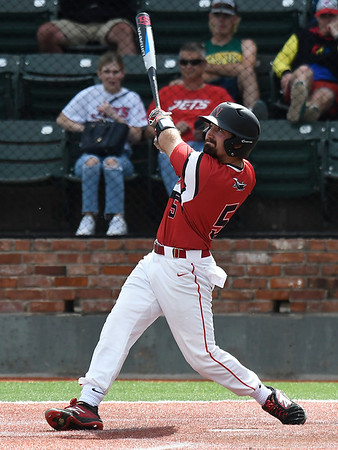 NOC Enid's Seth Graves gets a base hit against Pasco-Hernando State during the NJCAA DII World Series Wednesday, May 29, 2019, at David Allen Memorial Ballpark. (Billy Hefton / Enid News & Eagle)
