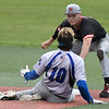 NOC Enid's Clay Lockett tags out Kellogg CC's Connor Brawley during the NJCAA DII World Series Saturday May 25, 2019 at David Allen Memorial Ballpark. (Billy Hefton / Enid News & Eagle)