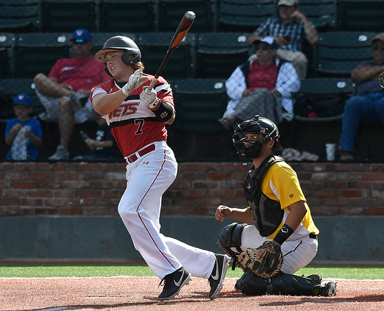 NOC Enid's Dylan Caplinger gets a base hit against Pasco-Hernando State during the NJCAA DII World Series Wednesday, May 29, 2019, at David Allen Memorial Ballpark. (Billy Hefton / Enid News & Eagle)