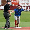 Lincoln Land's Jon Walder has a look of surprise at being called out at second base Sunday May 26, 2019 during the NJCAA DII World Series. (Billy Hefton / Enid News & Eagle)