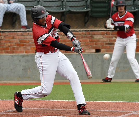 NOC Enid's E.J. Taylor hits a 2 run home run against Murray State during the Region 2 tournament Thursday May 9, 2019 at David Allen Memorial Ballpark. (Billy Hefton / Enid News & Eagle)