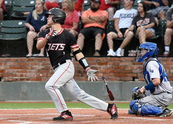 NOC Enid's D.J. Calvert connects on his second triple against Kellogg CC during the NJCAA DII World Series Saturday May 25, 2019 at David Allen Memorial Ballpark. (Billy Hefton / Enid News & Eagle)