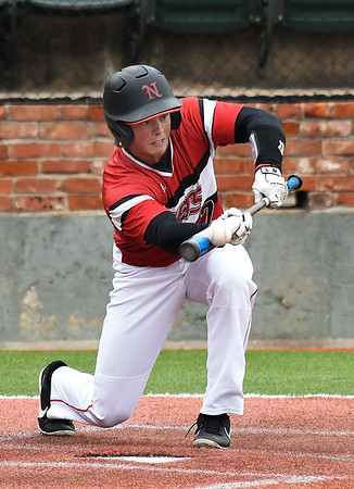 NOC Enid's Dylan Caplinger lays down a bunt for a base hit against Murray State during the Region 2 tournament Thursday May 9, 2019 at David Allen Memorial Ballpark. (Billy Hefton / Enid News & Eagle)