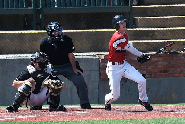 NOC Enid's Clay Lockett hits a walk off grand slam home run against Redlands CC Sunday May 12, 2019 during the Region 2 tournament at David Allen Memorial Ballpark. (Billy Hefton / Enid News & Eagle)