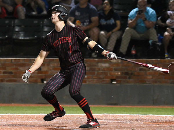 NOC Enid's D.J. Calvert hits a home run against Pasco-Hernando in the semi-finals of the NJCAA DII World Series Thursday, May 30, 2019, at David Allen Memorial Ballpark. (Billy Hefton / Enid News & Eagle)